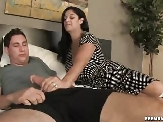cumshots blowjobs Big Titted Step Mom Catches Young Guy Jerking