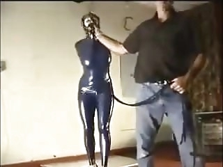 bondage latex Hogtied for the fucking machine