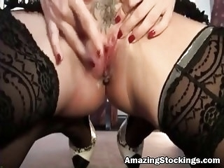 stockings anal Busty MILF in lengerie and stockings rough anal sex