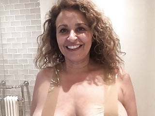 funny celebrity Nadia Sawalha Tapes Her Big Tits Up