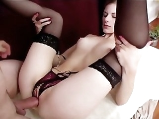 lingerie hardcore Petite babe in crotchless panties and nylons fucks