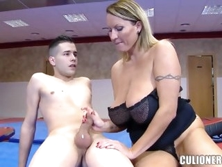 big ass blond Naughty MILF sucking winning gym for dramatize expunge 1st time